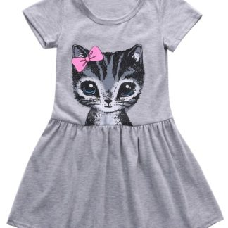 dress, girls, cat, kitty, grey, gray