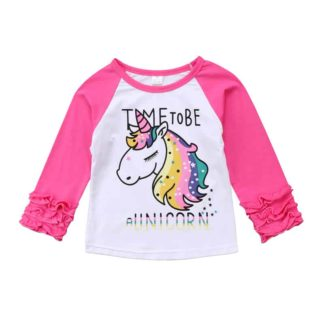 unicorn, ruffle, raglan, pink, girls, shirt, top
