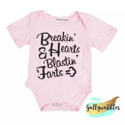 breakin hearts and blastin farts, boutique, baby onesie, baby romper, pink romper, pink bodysuit, funny baby
