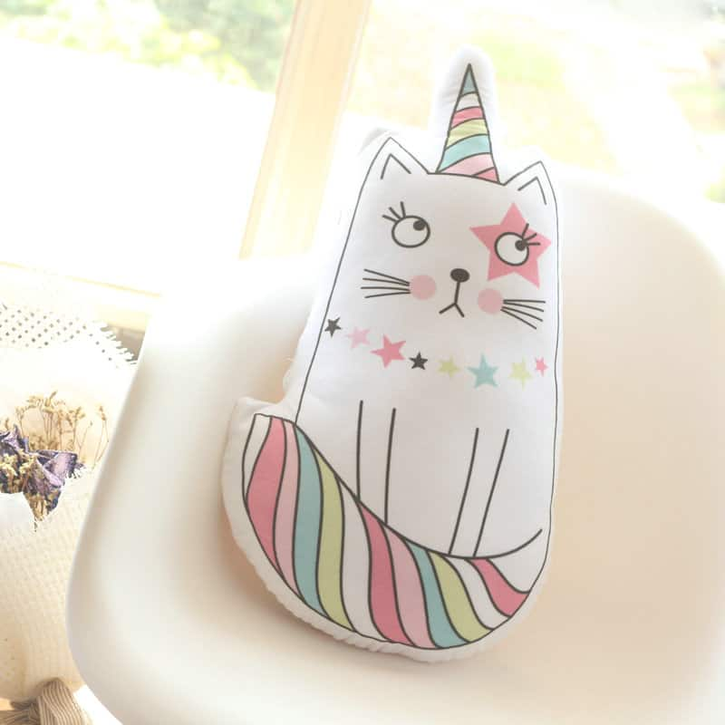 Cute Pastel Kawaii Decorative Pillows Unicorn Cat Or Ice Cream Gullywubbles