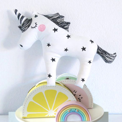black, unicorn, pillow, kids, bedroom