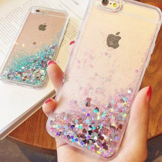 glitter, liquid, phone, case, hearts, kids