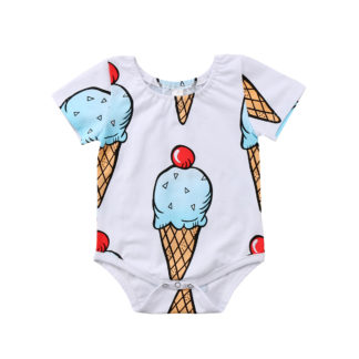 cherry, ice cream, baby, onesie, romper