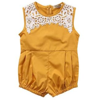 lace, pleated, mustard, romper, bubble, pleated