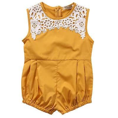 64884e59c401 Lace pleated mustard romper