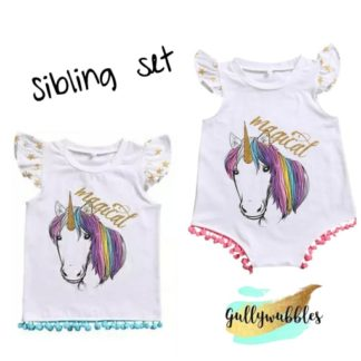 unicorn sibling set, sister set, sister top, sister onesie, sister romper, unicorn set, unicorn onesie gullywubbles