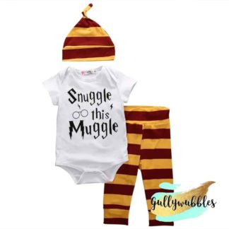 snuggle this muggle, 3 piece set, romper, outfit, gryffindor, hat, pants, onesie, bodysuit, romper, gift set, baby shower gift