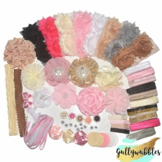 flowers for crafting, headband making kit, bows, rhinestone centers, shabby flowers, foe, fold over elastic, bows, hair clips, hair accessories, pony tails, craft kit, hair clips, headbands. headbands for babies, baby headbands, baby accessories, glitter bows, saint patricks day, easter, craft supplies, crafting supplies