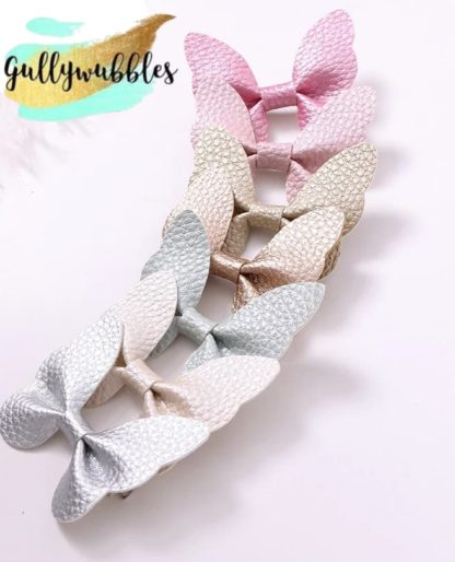 leather bows, hair bows, hair clips, leather hair clips, easter hair clips, baby bows, baby clips, baby hair accessory, pastel baby clips