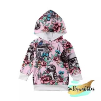 star wars, pink-starwars-hoodie-pink-starwars-sweatshirt-floral-star-wars-patter-gullywubbles-baby-boutique-star-wars-boutique-toddler-kids