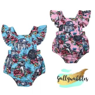 starwars star wars, starwars romper, floral starwars, baby romper, star wars baby clothes, starwars pink, star wars blue
